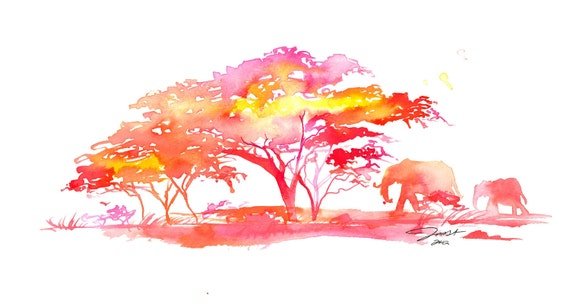 Original Watercolor Africa Safari Inspired Painting, Jessica Durrant - A Little Slice of Africa