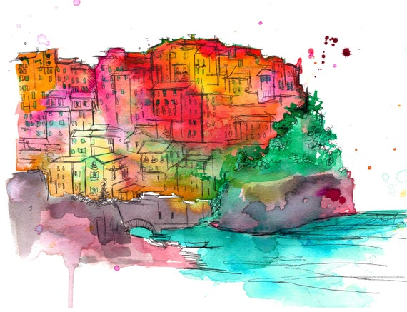 Print from original Watercolor and Pen Travel Illustration by Jessica Durrant titled Brights of Cinque Terre