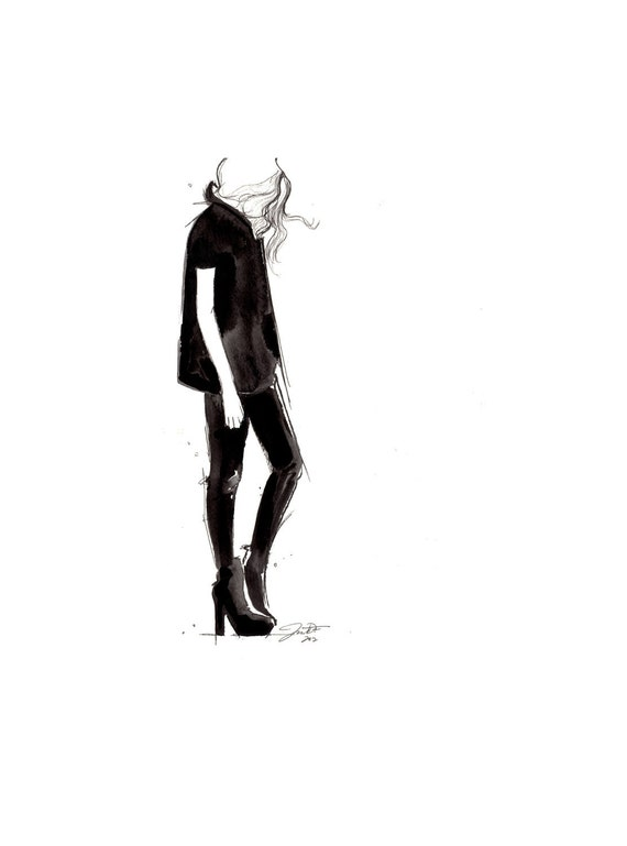 Original Watercolor and pen fashion illustration by Jessica Durrant - titled Black on Black