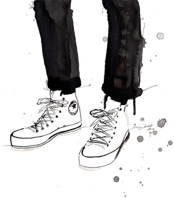 Print from original watercolor and pen fashion illustration by Jessica Durrant titled, Chucks in the City
