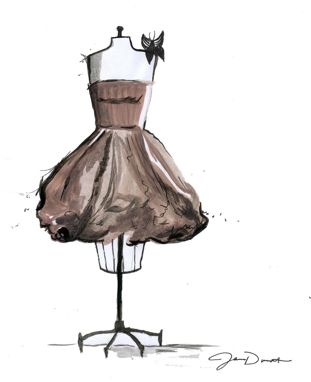 Watercolor Fashion Illustration: Mocha Latte Dress print