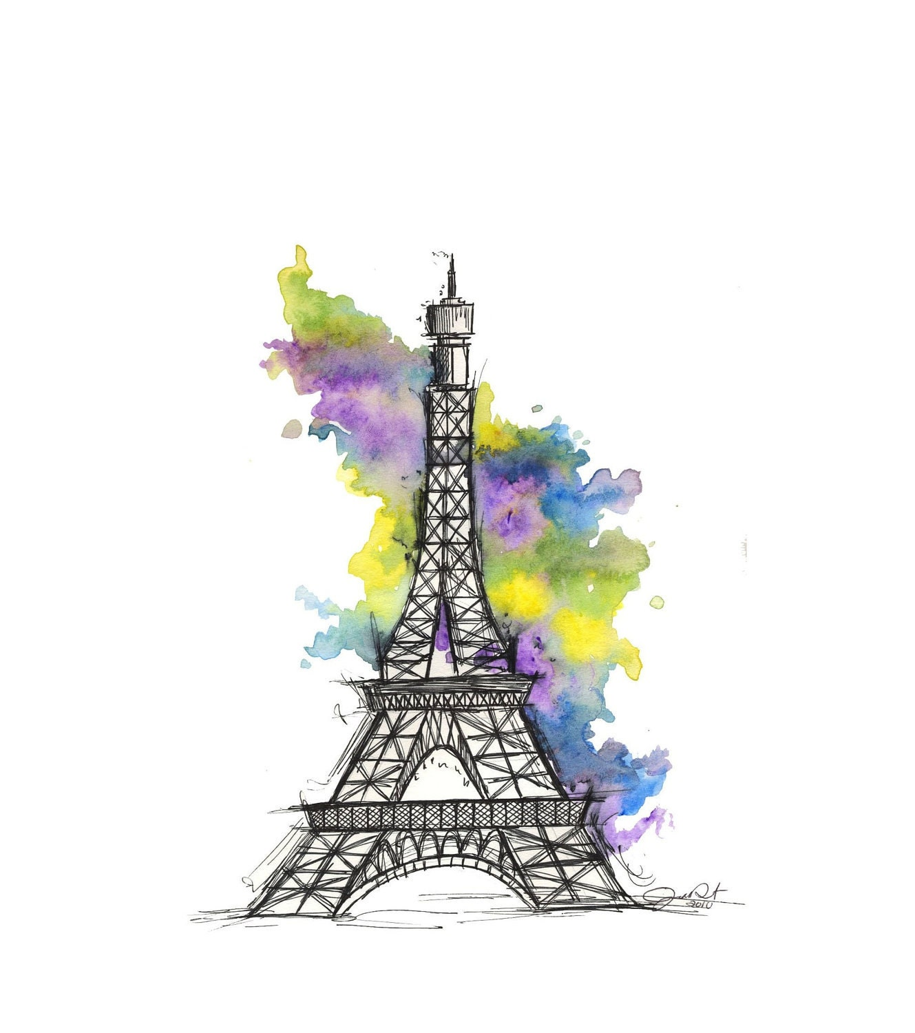 Water Color Eiffle Tower Painting