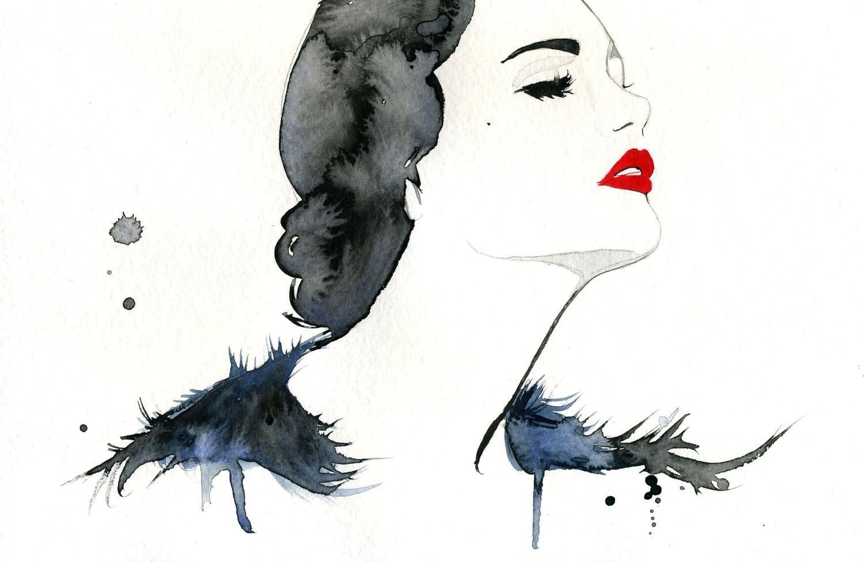 Watercolor Fashion Illustration Girl Gone Gatsby print