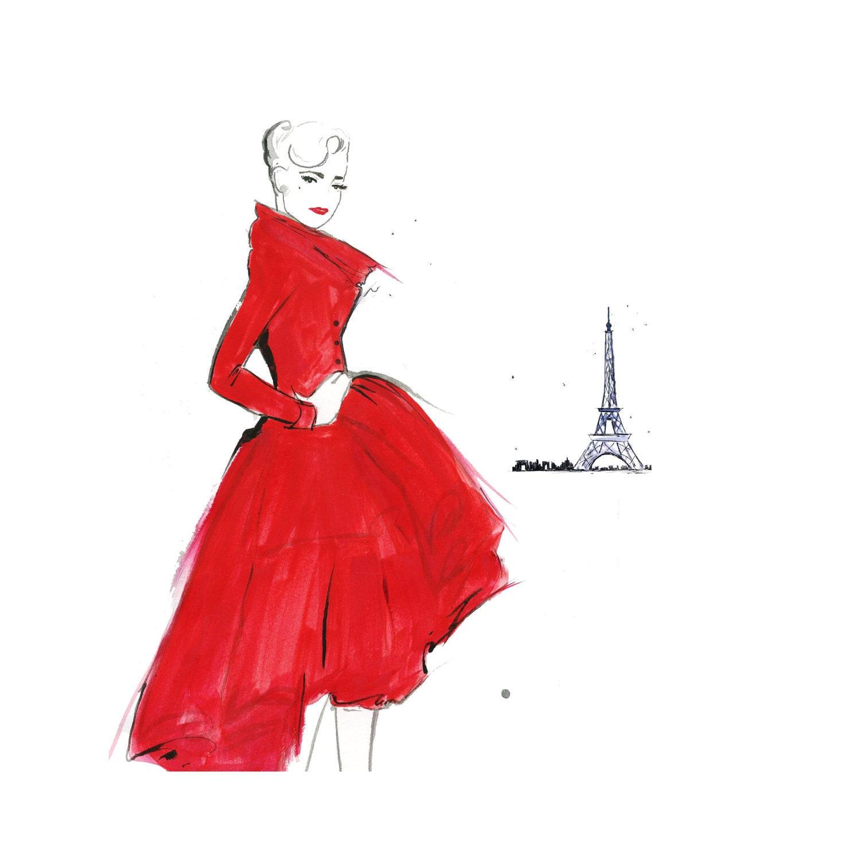 Watercolor Fashion Illustration Dior and Paris print