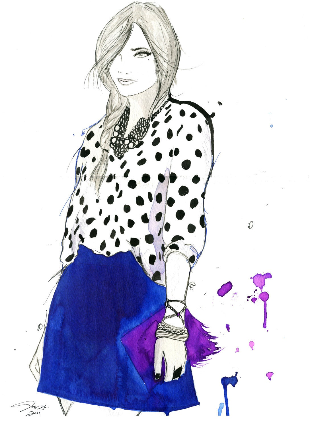 Watercolor and Pen Fashion Illustration by JessicaIllustration
