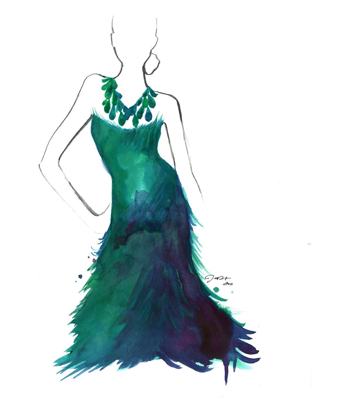 Watercolor Fashion Illustration Peacock Colors print