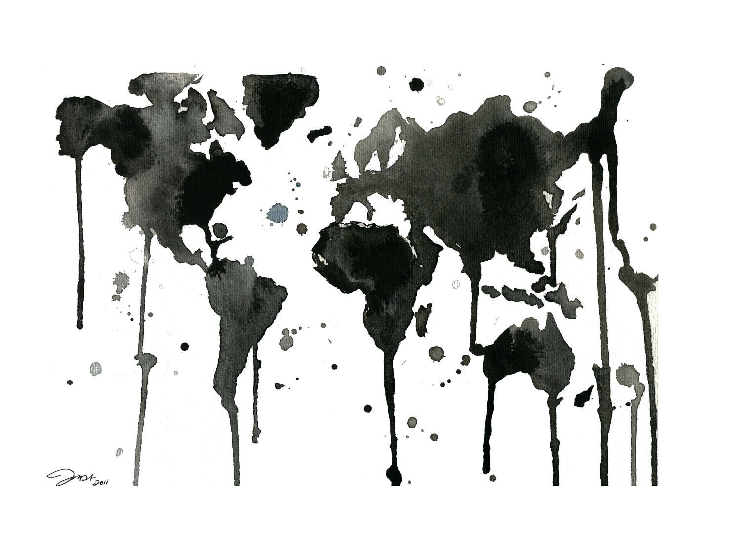 It 39 s a Black and White World Watercolor Map print sized