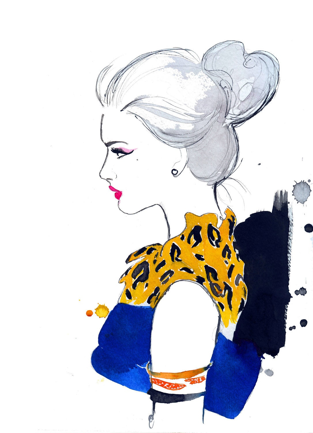 Watercolor Fashion Illustration Cheetah by JessicaIllustration