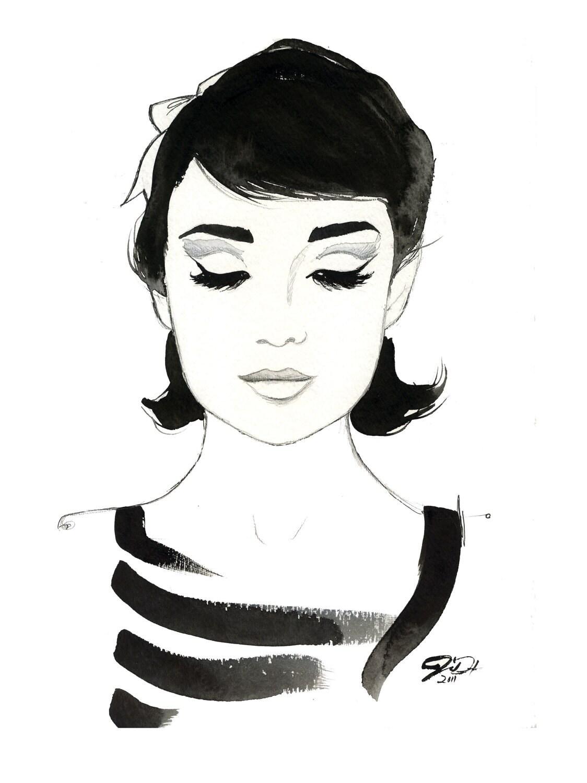 Watercolor Fashion Illustration Audrey Always print