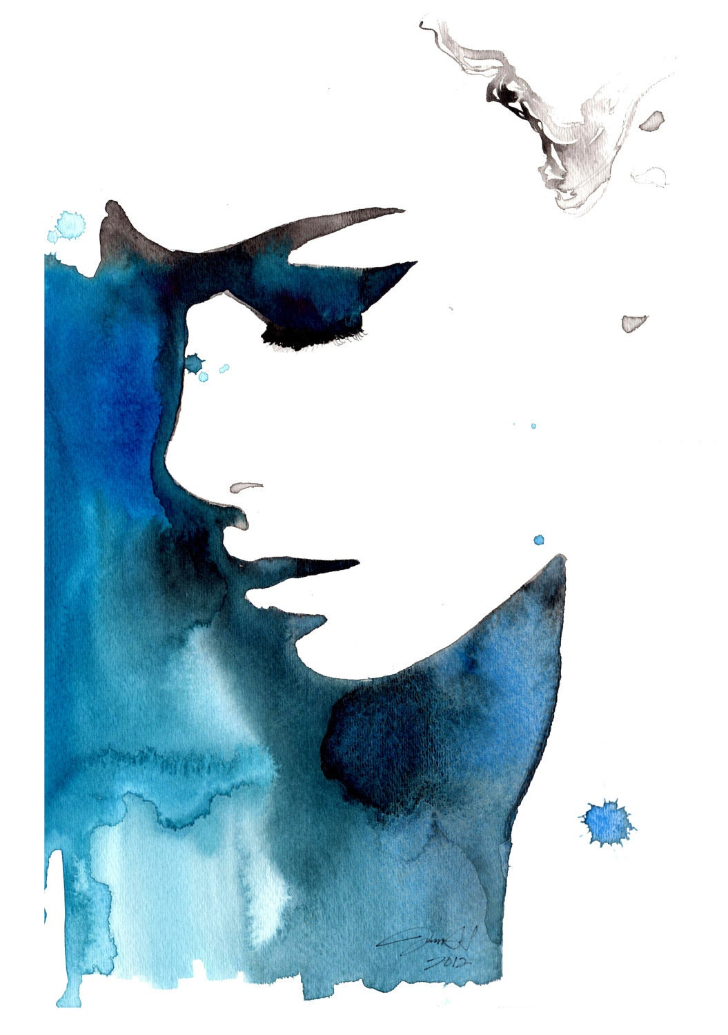 Print from original watercolor fashion illustration by Jessica