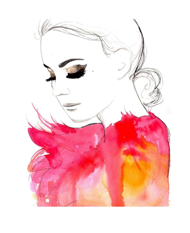 Original watercolor and pen fashion illustration by Jessica