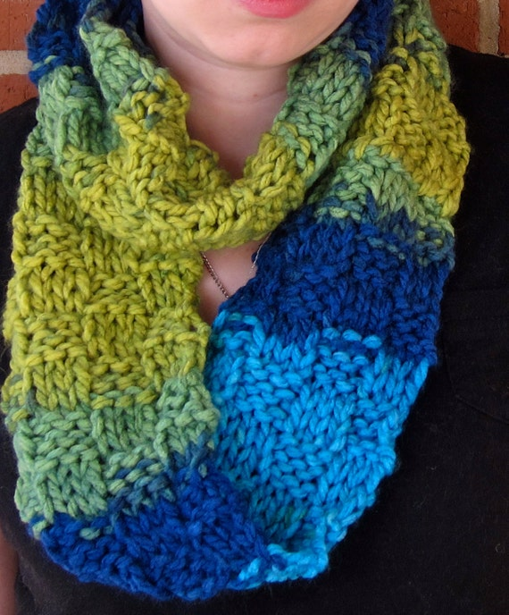 Multicolored Knit Infinity Scarf-checkerboard by AviRoseCreations