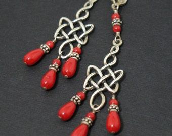 Celtic Red Coral Sterling Silver Chandelier Earrings Elvish Long Drops
