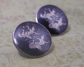 Siam Silver Niello Sterling Earrings Round Vintage 1940's Screwback Clip