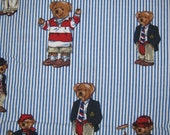 Ralph Lauren  Polo TEDDY BEARS twin  flat   bed sheet reclaimed linens