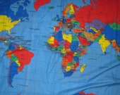 Fabric  World  Map Panel 34X61 quilting