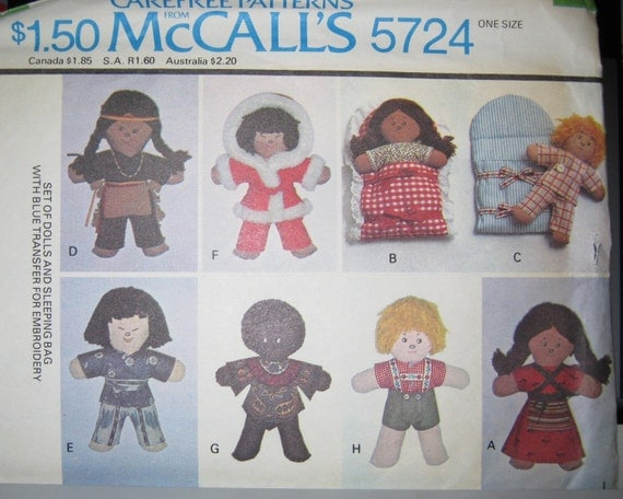 McCalls 5724  Vintage  10 inch  Small World Dolls pattern  and Sleeping Bag