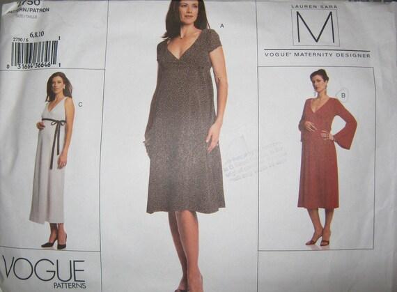 Vogue 2750   maternity dress pattern size  6 8 10 designer Lauren Sara