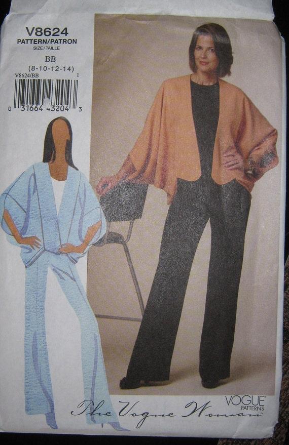 Vogue 8624 Misses Loose Jacket Pattern And Pants Sz 10 12