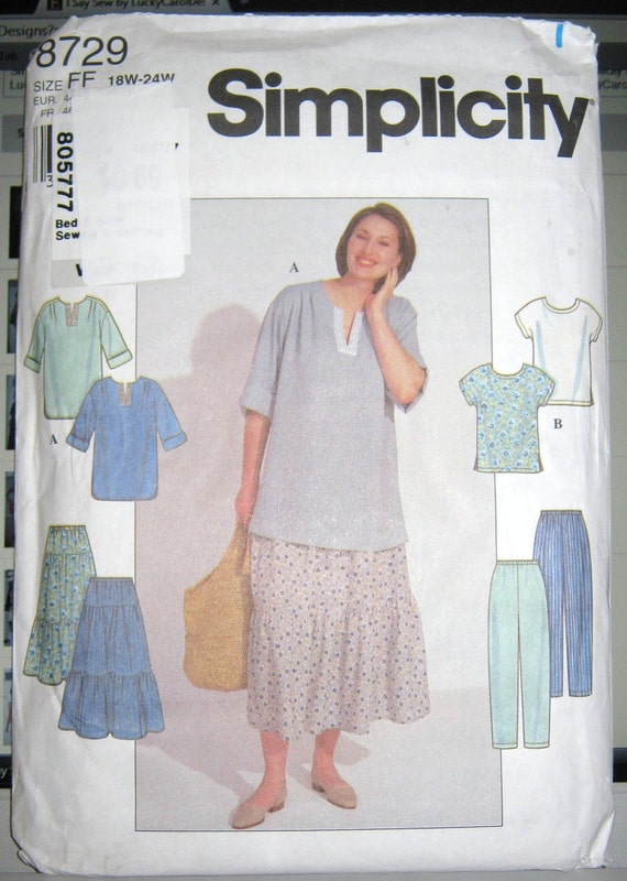Simplicity 8729   misses full figure  pattern     tunic top and skirt size  18W thru 24W