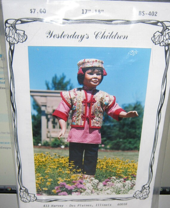 Yesterdays Children costume  for 18 inch doll American Girl pattern