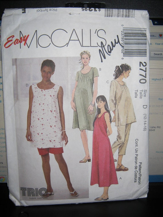 Misses maternity pattern  top  pants and dress  size 12 14 16McCalls 2770