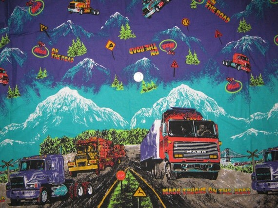 Mack Truck   border print   fabric 1.25  yard 60 wide