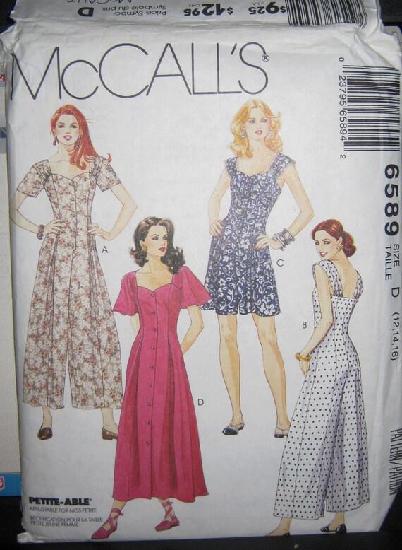 Misses Jumpsuit  Sun Dress pattern  sz   12 14 16  McCalls 6589