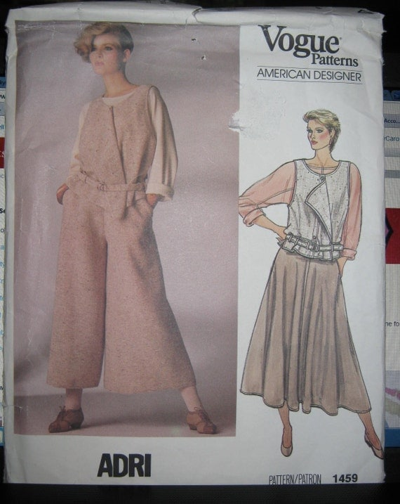 RESERVED Vogue sewing pattern 1495 Misses  Vest Top Skirt and  Culottes sz 12 Designer ADRI