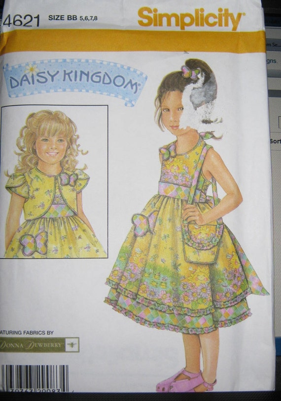 Simplicity 4621  toddler   Girls  pattern  sz  5 6 7 8  Daisy Kingdom Dress Jacket and Purse