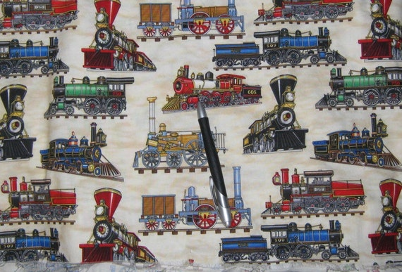 reserved cotton fabric train print 2 1 2 yard