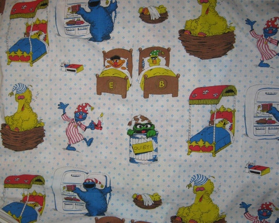 Vintage Sesame Street  curtain  panel  reclaimed fabric 37  X 37