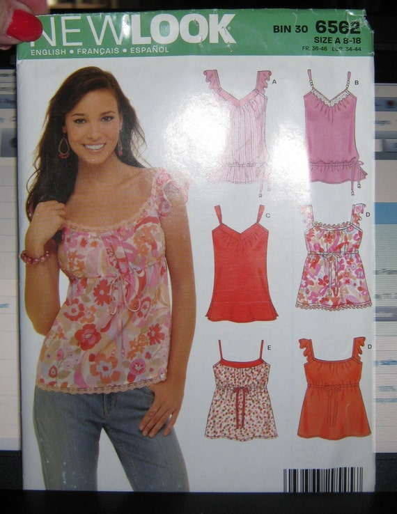 New Look 6562  Misses   Top pattern  4 styles    size   8 10 12 14 16  18