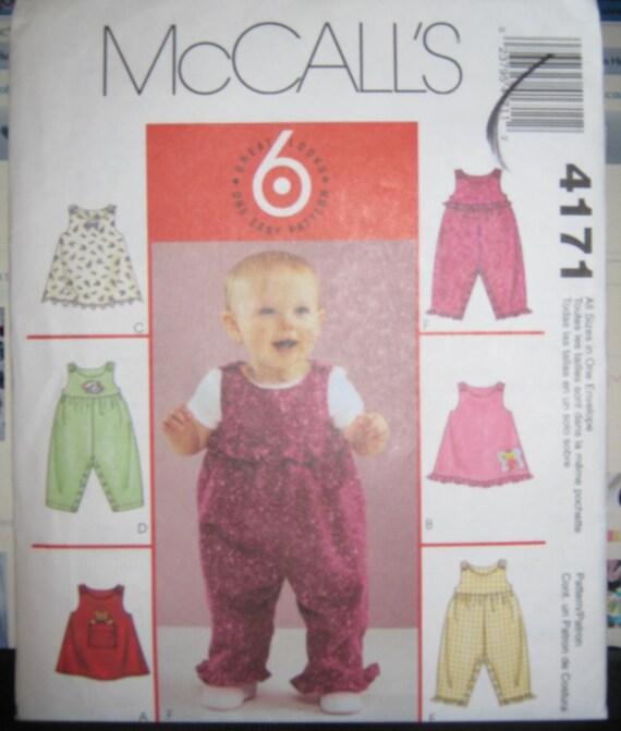 McCalls 4171   Infants toddler  pattern Dress  and romper  Sm thru Xl