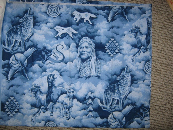 Native American print blue     fabric  last   yard