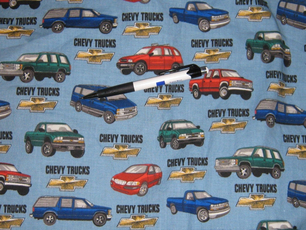 Cotton yardage chevy truck fabric sold per yard for Little blue truck fabric