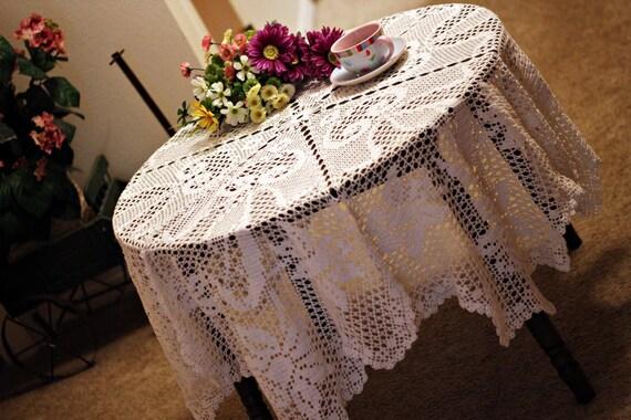 Beautiful Round Crochet Tablecloth