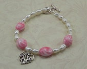 LOVE charm, Pink Vintage Beads, and Pearl Bracelet