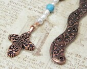 Beaded Metal Bookmark with Cross, Olive Wood, and Turquoise: Under  25.00