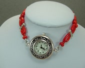 Bracelet Watch Red Coral Beaded