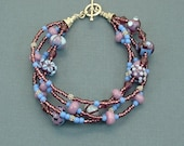 Multi Strand Lampwork Bead Bracelet Purple Twilight