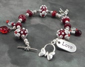 Lampwork Bead and Sterling Silver Valentine Bracelet