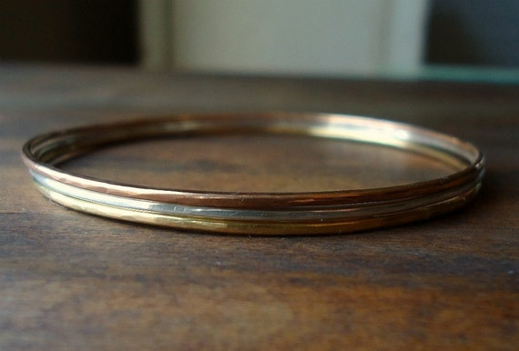 3 Bangles- Thin- Gold Silver Rose Gold- Small