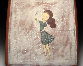 Wall Tile - Large Jenny Mendes Wall Hanging Pillow Tile - The Dancer - Pillow Tile