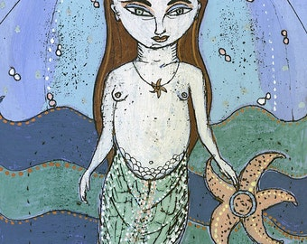 Limited Edition Giclee - Little Mermaid - Giclee Print by Jenny Mendes