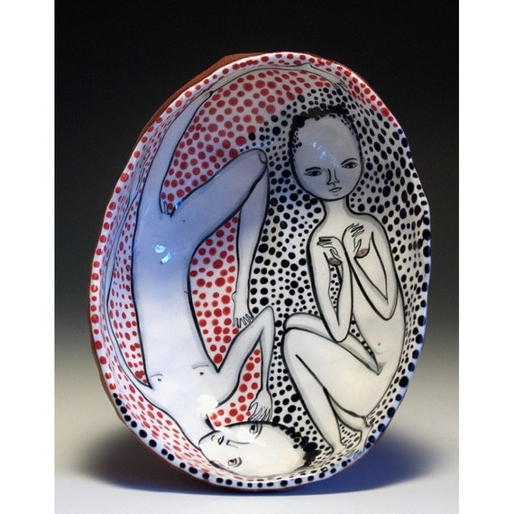 Yin and Yang - Ceramic Pinch Bowl - Jenny Mendes Ceramics