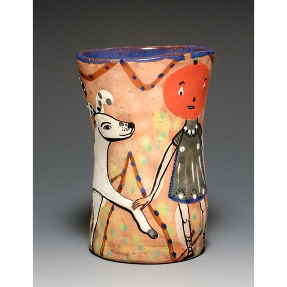 Decorative Cup - Red - Jenny Mendes Pottery Collection