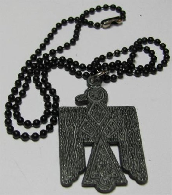 VINTAGE OLD PEWTER THUNDERBIRD WITH BLACK LINK CHAIN