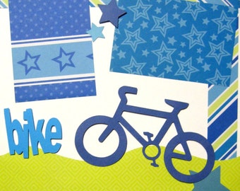 2 Page Scrapbooking Kit Boy Bike Bicycle Scrapbooking Layout Premade