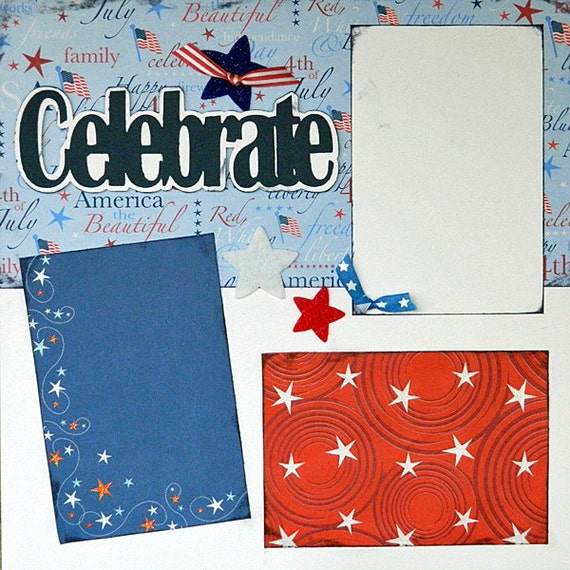 Scrapbooking Layout Fourth of July America USA 2 Page Kit